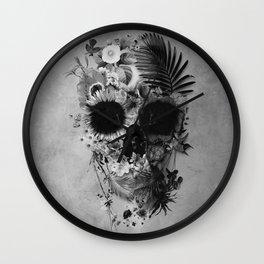 Garden Skull B&W Wall Clock