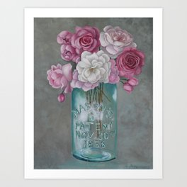 Antique Mason Jar Number 6 1858 with Pink Roses Art Print