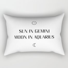 Gemini/Aquarius Sun and Moon Signs Rectangular Pillow