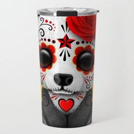 Red Day of the Dead Sugar Skull Panda Travel Mug