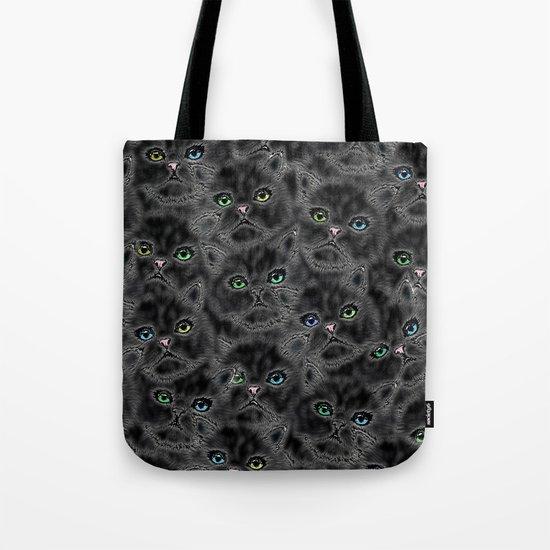 Black Kitten Faces Tote Bag