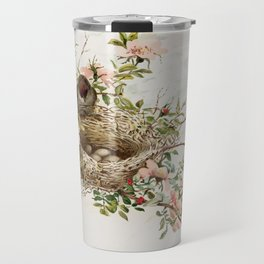 Vintage Bird with Eggs in Nest Travel Mug