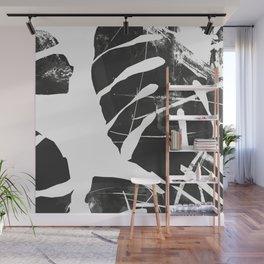 Monstera Leaf Black Wall Mural