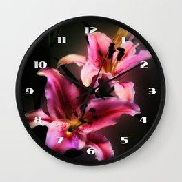 Pink Stargazer Lily Wall Clock