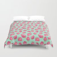 strawberry Duvet Covers featuring Strawberry  by Marta Olga Klara