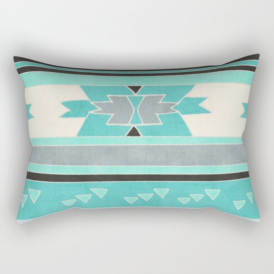 Rustic Tribal Pattern in Teal, Charcoal and Cream Rectangular Pillow