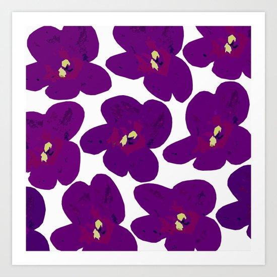 Purple Retro Flowers Art Print