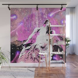 WOLF PINK MOON SHOOTING STARS Wall Mural