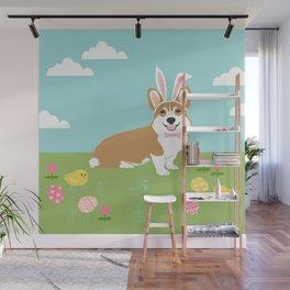 Corgi easter bunny spring dog breed welsh corgis gifts Wall Mural