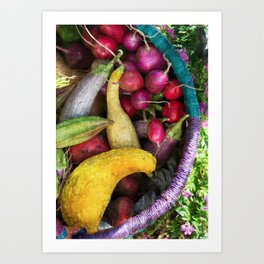 CSA Basket Fall Harvest Art Print