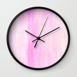 pink pastel with golden dots Wall Clock
