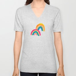 Abstract Rainbow Arcs - White Palette Unisex V-Neck