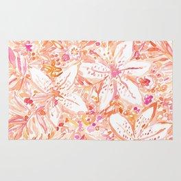 LILY SUNSET Peach Beachy Floral Rug