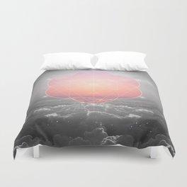 The Sun Is But A Morning Star (Mono Geometric Sunrise) Duvet Cover