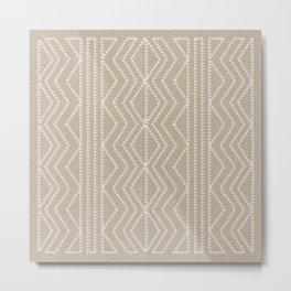 Cream Linen Beige Arrows Pattern Metal Print