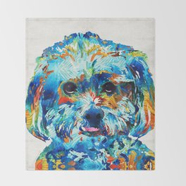 Colorful Dog Art - Lhasa Love - By Sharon Cummings Throw Blanket