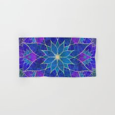 Lotus 2 - blue and purple Hand & Bath Towel