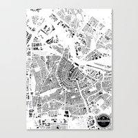 amsterdam Canvas Prints featuring AMSTERDAM by Maps Factory