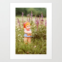 Girl with duck Art Print