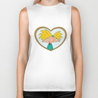 hey arnold Biker Tanks featuring HEY ARNOLD! by SaladInTheWind