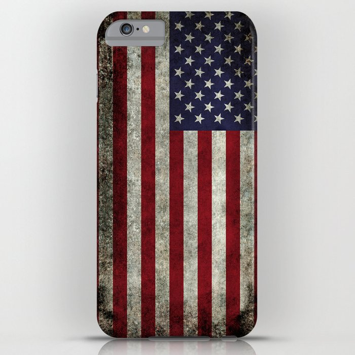 american flag, old glory in dark worn grunge iphone case