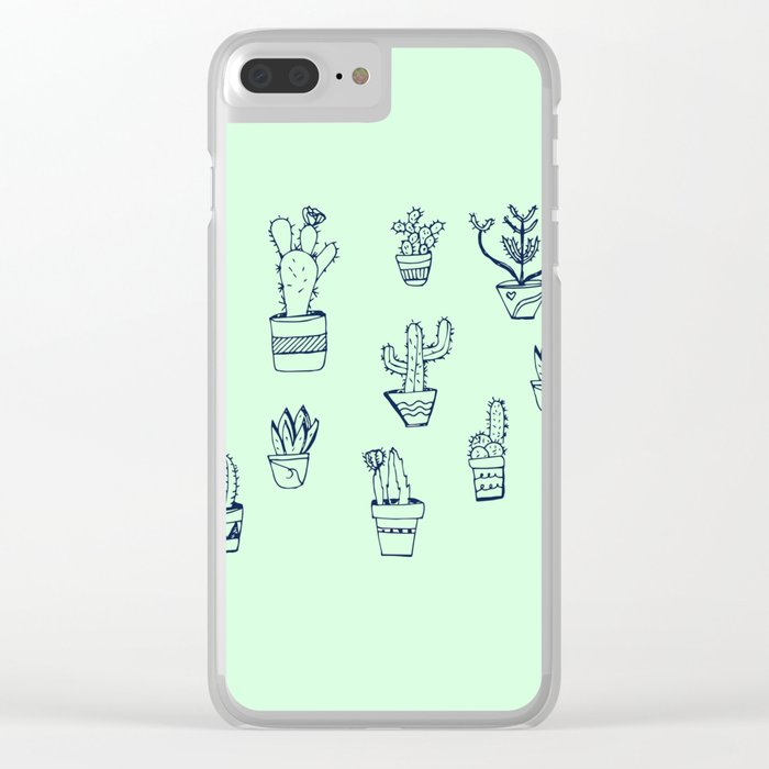 Cactus and Mint Clear iPhone Case