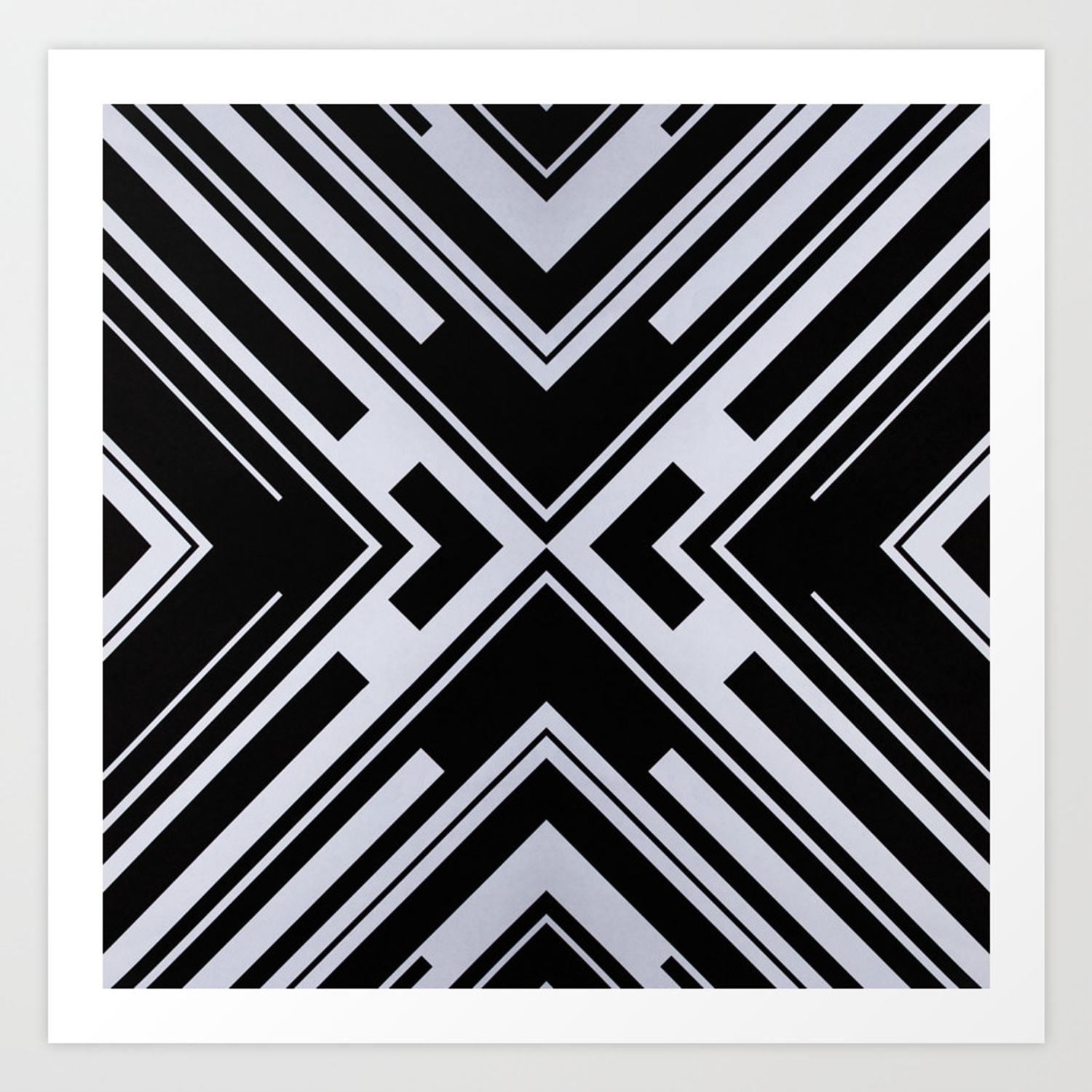 Black and white x tribal pattern shapes geometric geometry contrast ii art print