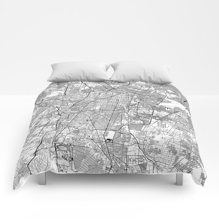 Mexico City White Map Comforters