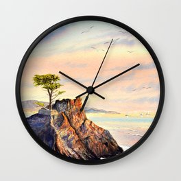 Pebble Beach Lone Cypress Tree Wall Clock