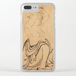 Hokusai, a woman combs her hair -manga, japan,hokusai,japanese,北斎,ミュージシャン Clear iPhone Case