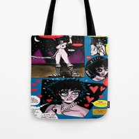 hentai Tote Bags featuring  Space Chick & Nympho: Vampire Warrior Party Girl Comix #1 -Nympho in Comic Page -'Nature Boy' by Tex Watt