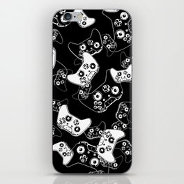 Video Game White on Black iPhone Skin