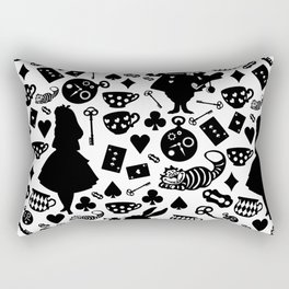Alice in Wonderland Pattern B&W Rectangular Pillow