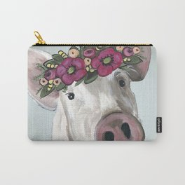 Pig with Flower Crown, Cute Pig, Farm Animal Art Carry-All Pouch