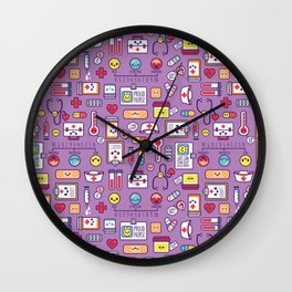 Proud To Be a Nurse Pattern / Purple Wall Clock