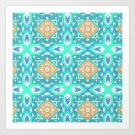 Abstract aqua blue watercolor faux gold glitter motif Art Print