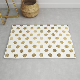 Luxurious faux gold leaf polka dots brushstrokes Rug