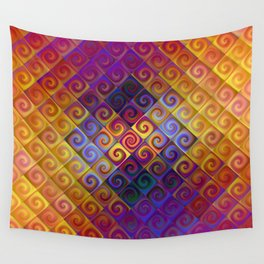 Spirals in Squares 2 Wall Tapestry