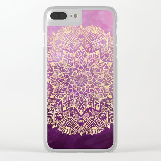 Gold mandala on maroon ink Clear iPhone Case