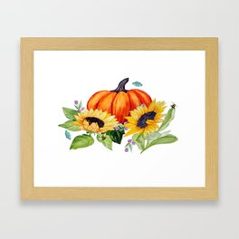 Pumpkins and Sunflowers with moths, watercolor botanical Framed Art Print