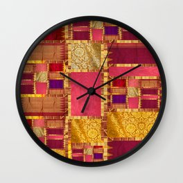 """Exotic fabric, ethnic and bohemian style, patches"" Wall Clock"