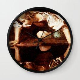 Michelangelo Merisi da Caravaggio, Narcissus at the Source, oil on canvas, 1597-99 Wall Clock