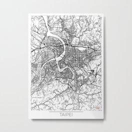 Taipei Map White Metal Print