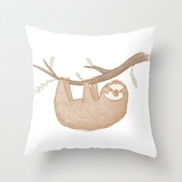 Swinging Sloth Throw Pillow