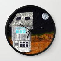 moonrise kingdom Wall Clocks featuring Moonrise Kingdom by Veronique de Jong · illustration