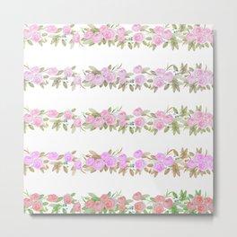 Botanical pink lilac green watercolor floral stripes Metal Print