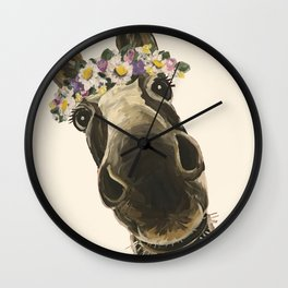 Cute Flower Crown Donkey, Up Close Donkey Art Wall Clock