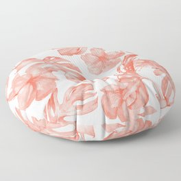 Tropical Hibiscus and Palm Leaves Dark Coral White Floor Pillow