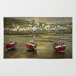 Three Red Boats at Staithes Rug