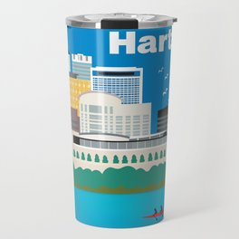 Hartford, Connecticut - Skyline Illustration by Loose Petals Travel Mug